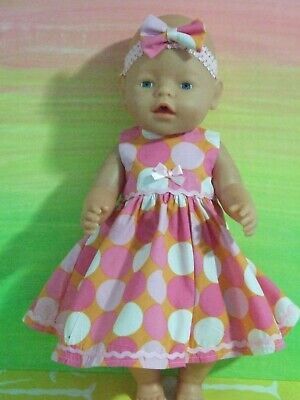42cm BABY BORN Dolls Clothes / DRESS & HEADBAND / large spots in pinks & white