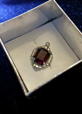 """Antique Art Deco Synthetic Ruby Red Glass Silver Charm Pendant 3/4"""""""