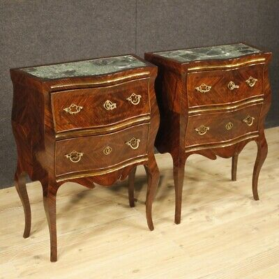 Nightstands Coffee Tables Couple Furniture Italian Wooden Inlaid Marble Antique
