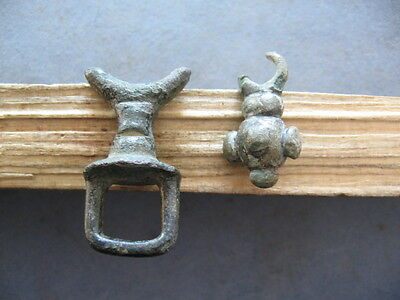 2 Crescent Moon Amulets Ancient Celtic Bronze Lunar Talismans 700-500 B.c.