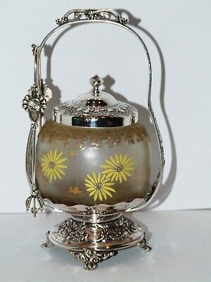 Antique ENAMELED ROYAL FLEMISH ORIGINAL Pairpoint SILVERPLATED PICKLE CASTOR