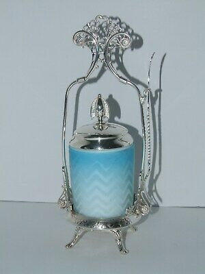 Fancy Antique Blue Mother Of Pearl Herringbone Silverplated Pickle Castor