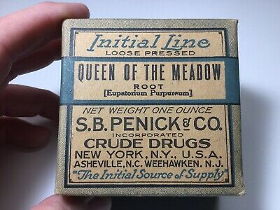 Vintage Crude Drug Box, Queen Of The Meadow Root, S.B. Penick & Co. Sealed