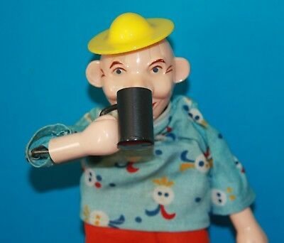 ANTIQUE German TOY Man Drinking PUSH Movement METAL Arm Head MUG Yellow HAT