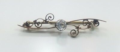 Antique Victorian Edwardian 10k Yellow Gold Detailed Crystal Pin Brooch