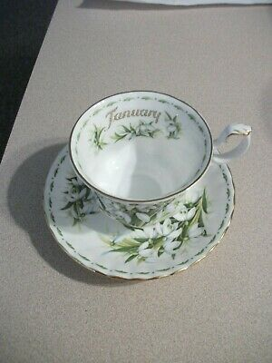 Royal Albert Bone China England Teacup&Saucer Flower Month Series Jan Snowdrops