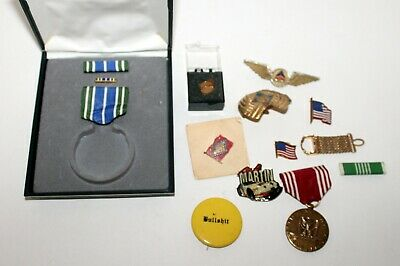 Junk Drawer Collectibles Pins, Military Medals, Delta Airlines, Boy Scout, More