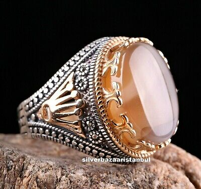 Natural Stone Yemeni Agate Aqeeq Turkish 925 Sterling Silver King Model Men Ring