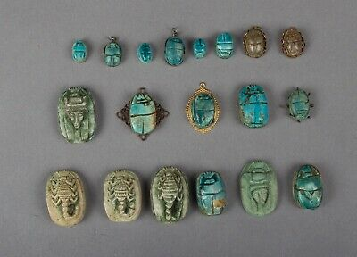 19 Vintage Egyptian Scarabs from the 1950's