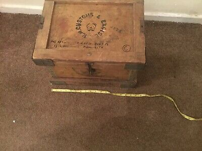 1950-70 ?  Rare  H M Custom & Excise Wooden Trunk Steam Punk Cool Coffee Table