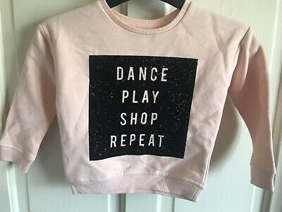 BNWOT River Island Pink 'Dance Play Shop Repeat' Jumper. Girls. Age 2 - 4 Years