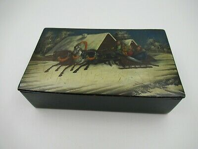 Antique Russian Fedoskino Green Lacquer Hand Painted Box w/ Winter Sleigh Scene