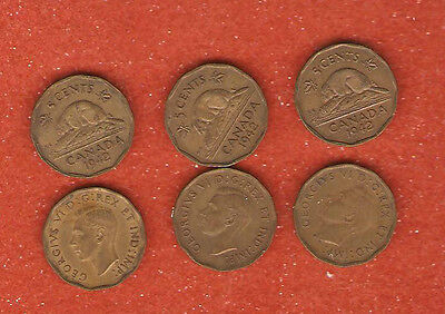 3 1942 canada tombac five cent coins (nice collectable coins) E650