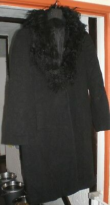 96e0e6d743409 Dorothy Perkins black wool coat removable faux fur collar size 20 VGC