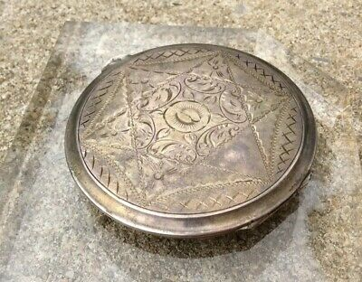 Antique Victorian Silver Etched Compact, 41g Stamped 835 Silver