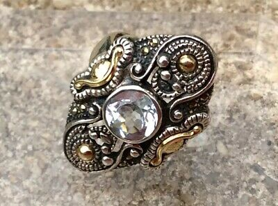 Byzantine Revival Sterling Silver Aquamarine Cocktail Ring Sz 8, Signed IL