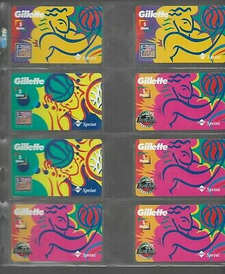 (8) 1990's  Collectible Sprint Gillette Basketball  Prepaid Phone Card Lot