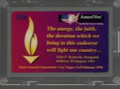 1990's AmeriVox President JFK Kennedy Inaugural Collectible Prepaid Phone Card