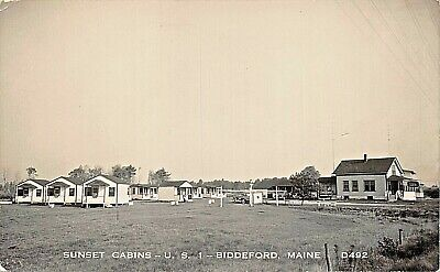 BIDDEFORD MAINE-SUNSET CABINS ON U.S. ROUTE 1-1940s REAL PHOTO POSTCARD