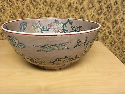Chinese old hand-carved porcelain White Crane pattern/Pink Flowers