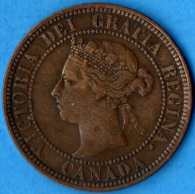 Canada 1886 1 Cent One Large Cent Coin - Fine