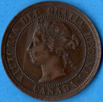 Canada 1891 LD LL 1 Cent One Large Cent Coin - EF (scratches)