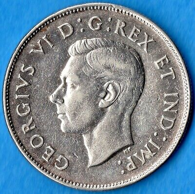 Canada 1947 Maple Leaf 50 Cents Fifty Cents Silver Coin - Very Fine