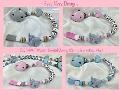 🐘 ELEPHANT 🐘 Wooden Beads 🐘 Personalised DUMMY CLIPS 🐘 MAX of 7 Letters 🐘