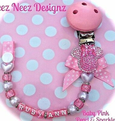 ❤ PERSONALISED - Your Name Choice ❤ Dummy Clip ❤ Pearl N Pink Sparkle ❤