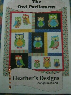 The Owl Parliament Quilt Colourful Bright Pattern Only Aprox 40 X 44Inches