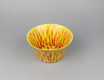 Chinese bowl China yellow red color glaze porcelain hand-painted flower w sign
