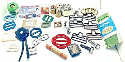 JUNK Drawer LOT Vintage COLLECTIBLE buckle sewing notions nimble thimble MOP