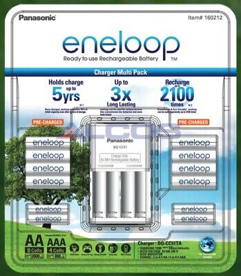 Panasonic eneloop NiMH Battery Charger + 8 AA + 4 AAA Bundle - Australia Version