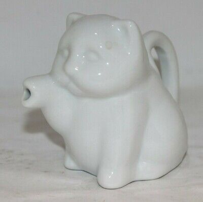 "Small 3"" Tall Vintage White Ceramic Cat Creamer. Paw Spout, Tail Handle."