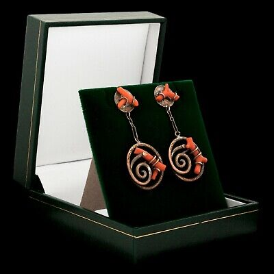 """Antique Vintage Georgian 14k Gold Polished Salmon Coral 1.81"""" L Womens Earrings"""