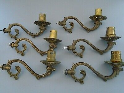 Vintage Chandelier 6 Cast Brass Light Branch Arms For Spares & Repair