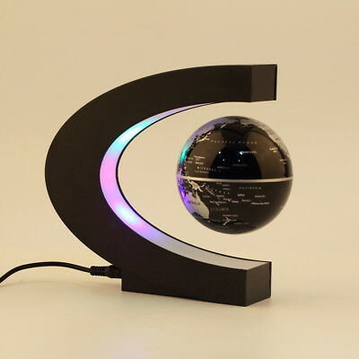 C shape LED World Map Decoration Magnetic Levitation Floating Globe Light ea