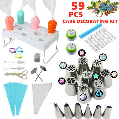 59 Pcs Cake Decorating Set Pastry Bag Holder Russian Icing Piping Nozzles Flower