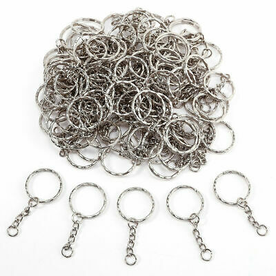 100pcs Keyring Blanks Silver Tone Key Chains Findings Split Rings 4 Link  55mm