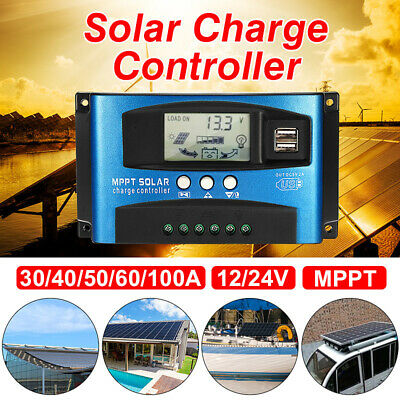 100A MPPT Solar Panel Battery Regulator Charge Controller 12/24V Auto & Dual