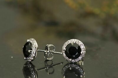 1.00Ct Round Cut Black Diamond Solitaire Halo Stud Earring 14K white Gold Over