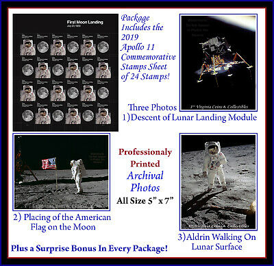 Apollo 11 First Moon Landing 2019 Stamps with 3 Photos + BONUS ships after 7/25