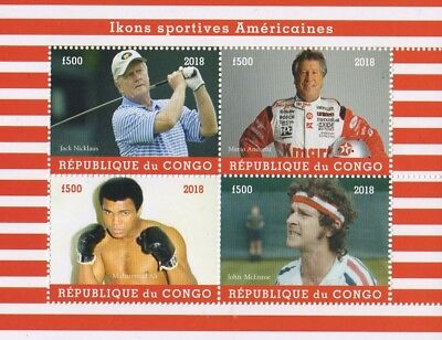 2018 American Sports Icons Nicklaus Andretti Ali Mcenroe Mnh Stamp Sheetlet