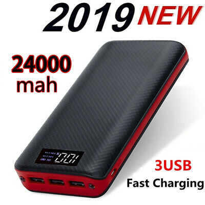 24000 mAh Power Bank 3 USB External Battery LED Display For Iphone Mobile Phone