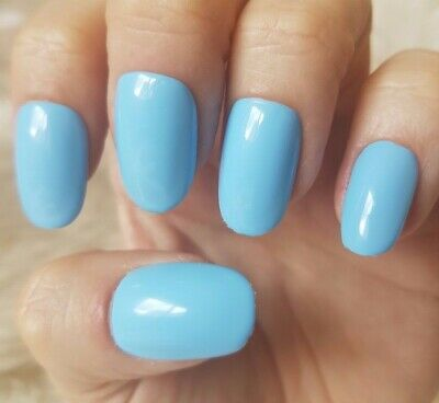 Hand Painted Light Blue False Nails. 20 Medium Oval Press-on Nails. Glossy.