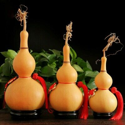 1X Natural Gourd Wine Water Bottle Feng Shui Calabash Pendant Ornament Decor
