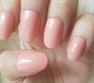 Hand Painted Nude False Nails. 20 Medium Oval Press-on Nails. Glossy.