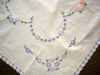 Vintage Hand Embroidered Coloured Daisies Cream Linen & Lace Edge Tablecloth