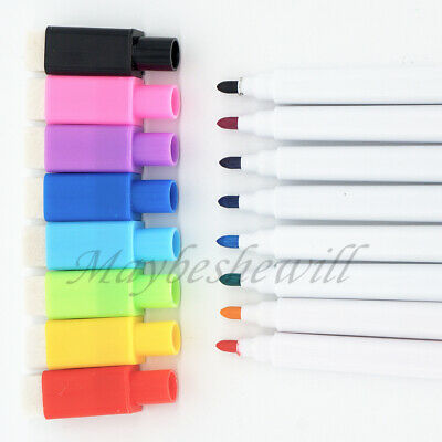 whiteboard Magnetic 8 color marker pen easy clean with mini rubber work