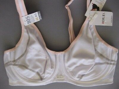 Berlei ELECTRIFY UNDERWIRE Sports Bra 18E / 40E White Pink Grey Trim Rrp $60